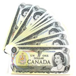 1973 $1 BC-46b Bank of Canada Notes with Consecutive Serial Numbers - ECU6254450-474 UNC. 25pcs