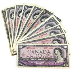 1954 $10 Bank of Canada Modified Portrait Notes - 2x Beattie-Coyne & 8x Beattie-Rasminsky Signatures