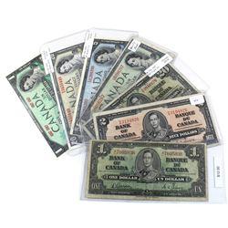 Estate Lot of 1937-1967 $1, $2, $5 & $20 Bank of Canada Notes - 1937 $1 Gordon-Towers, 1937 $2 Gordo