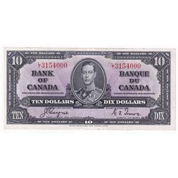 1937 $10 BC-24c, Bank of Canada, Coyne-Towers, L/T3154000, AU-UNC.
