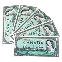 1954 $1 Bank of Canada Modified Portrait Notes Bouey-Rasminsky Signatures with Consecutive Serial Nu