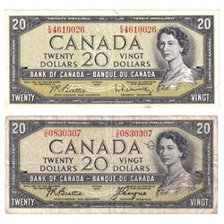1954 $20 Bank of Canada Notes with Both Devil's Face BC-33b and Modified Portrait BC-41b Varieties.