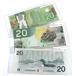 1991, 2005 & 2012 Bank of Canada $20 Notes with 3 & 4 Digit RADAR Serial Numbers - 1991 BC-58a-ii 4