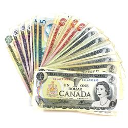Group Lot of 53x Bank of Canada $1, $2, $5, $10 & $20 Multicoloured Series Banknotes. You will recei
