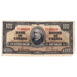1937 $100 BC-27b, Bank of Canada, Gordon-Towers, B/J1468439, F-VF. Note has a cut corner and a 2mm t
