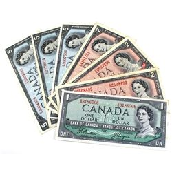 1954 Bank of Canada $1, $2 & $5 Modified Portrait Notes Very Fine or Better - $1, 3x $2 & 3x $5. Not