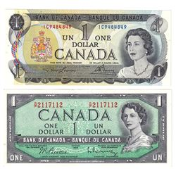 1954 & 1973 $1 Bank of Canada Notes with 3 Digit RADAR Serial Numbers AU-UNC - 1954 BC-37b-i R/P2117