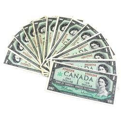 1967 $1 Bank of Canada Notes with All Different Prefixes. 13pcs