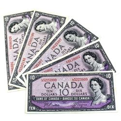 1954 $10 Bank of Canada Modified Portrait Notes Extra Fine or Better - 2x Beattie-Coyne & 3x Beattie