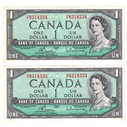 Pair of 1954 $1 Bank of Canada Modified Portrait Notes Bouey-Rasminsky Signature with Consecutive Se