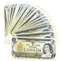Lot of 36x 1973 $1 Bank of Canada Notes - 21x BC-46a & 15x BC-46b. 36pcs