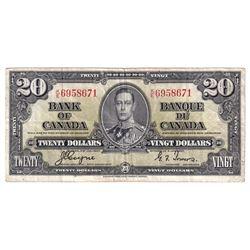 1937 $20 BC-25c, Bank of Canada, Coyne-Towers, K/E6958671, Fine (small pinholes, minor tears and som