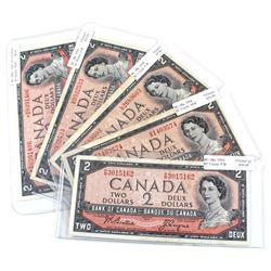 1954 $2 Bank of Canada Modified Portrait Notes. You will receive prefixes BC-38a (L/B, M/B, P/B), BC