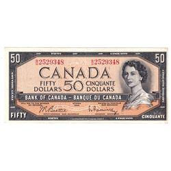 1954 $50 BC-42b, Bank of Canada, Beattie-Rasminsky, Modified Portrait, B/H252948, Extra Fine.