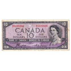 1954 $10 Bank of Canada Devil's Face Note with Neat Serial Number Ending in 666 Beside the Queen's P
