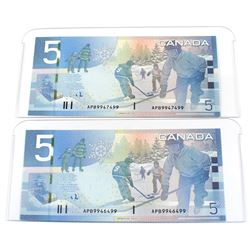 2006 $5 BC-67a Bank of Canada Notes Jenkins-Dodge Signatures with 3 Digit RADAR Serial Numbers Uncir