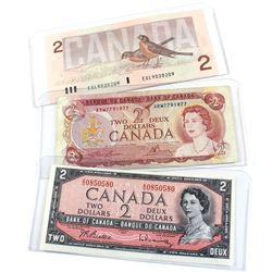1954, 1974 & 1986 Bank of Canada $2 Notes with 3 Digit RADAR Serial Numbers - 1954 S/U0850580, 1974