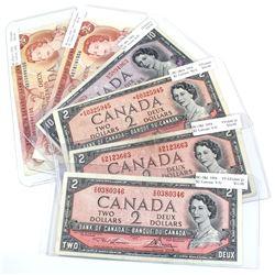 Mixed Lot of 1954 & 1974 $2 and $10 Bank of Canada Notes - 2x 1954 $2 BC-38d prefix V/G, 1954 $2 BC-