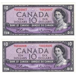 1954 $10 BC-40b Bank of Canada Notes Beattie-Rasminsky Signatures with Consecutive Serial Numbers E/