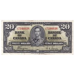 1937 $20 BC-25c, Bank of Canada, Coyne-Towers, J/E7346638, Extra Fine (small tears at top and bottom