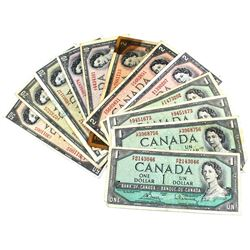 Estate Lot of 1954 $1 Through $50 Bank of Canada Modified Portrait Notes - 4x $1, 5x $2, 2x $10, 2x