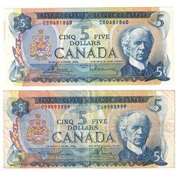 1972 $5 Bank of Canada Notes with 2 Digit & 4 Digit RADAR Serial Numbers - BC-48a 4 Digit RADAR CB06