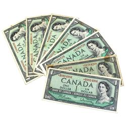 1954 $1 Bank of Canada Modified Portrait Replacement Notes with Beattie-Rasminsky Signatures - Prefi