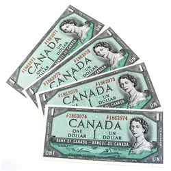 1954 $1 Bank of Canada Notes Lawson-Bouey Signature with Consecutive Serial Numbers Z/F1863971-974 U