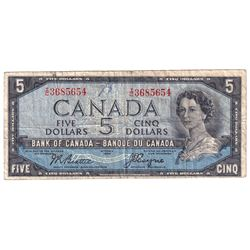 1954 $5 BC-31b Bank of Canada Devil's Face Note, Beattie-Coyne, I/C3685654, Fine (writing '28' and m