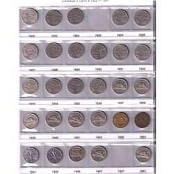 Canada 5-cent Collection date ranges between 1922-2015. You will receive one of each date and some C