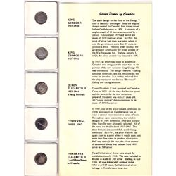 Canada Silver Dimes, Half Dollar & Dollar with informational display folders/Cards. Dates include 19