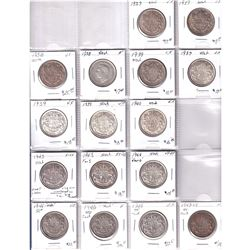 Mixed page of 16x Canadian Silver 50-cent - Oldest Date 1937. Coins vary in grade from Fine to Extra