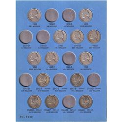 1938-1961 USA Jefferson Nickels in Vintage Whitman folder. You will receive 44pcs dated between 1938