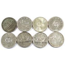 8x Canada Silver Dollar dated 1939, 1961, 1960, 1966 & 1964. 8pcs