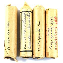 1938, 1939, 1948 & 1954 Canada 1-cent circulated Rolls. 4pcs