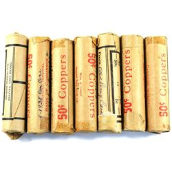 Estate Lot of Canada Mixed Dated 1-cents in Rolls of 50 coins. Dates includes 1938, 1948, 1962 & 196
