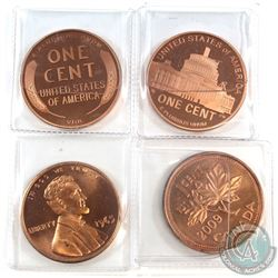 Lot of USA & Canada Medals Designed as 1-cents. You will receive USA 1909-S, 1965 & 2009 and a 2009