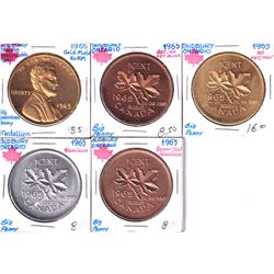 Lot of 5x Sudbury Ontario Big Penny Tokens in various medals. 5pcs