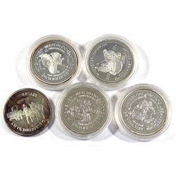 5x 1978, 1981, 1982, 1983 & 1984 Kitchener-Waterloo Oktoberfest .999 Fine Silver Tokens (TAX Exempt)