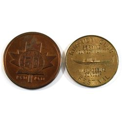 "Pair of Kinsmen Club ""Serving Your Community"" Tokens. 2pcs"