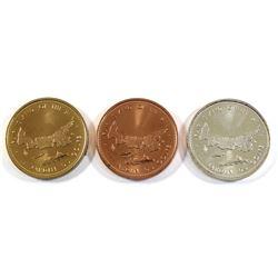 "3x 1973 Prince Edward Island Centennial ""Fair Island of the Sea"" Bronze, Silver & Red Brass Medallio"
