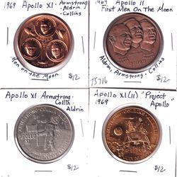 """4x 1969 Apollo Medallions: Apollo XI Armstrong Collin Aldrin, Apollo XI """"Project Apollo"""", Apollo XI"""