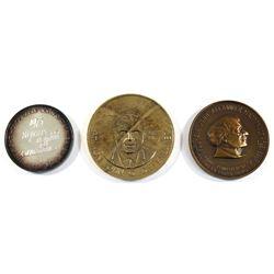 3x Prime Minister of Canada Commemoratve Medallions: 1975 John G. Diefenbaker 80 year Silver Medalli