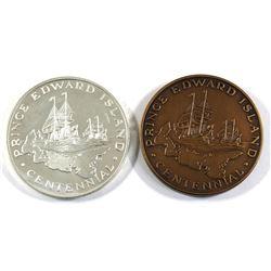 1873-1973 Prince Edward Island Silver & Bronze Centennial Medallion. 2pcs