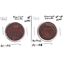 1842 VF-EF (PC-1B6) & 1844 EF (Corr) Province of Montreal Half Penny Tokens. 2pcs