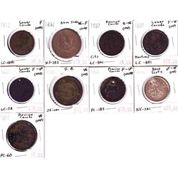 1812-1857 Bank of Canada Tokens: 1812 Lower Canada LC-48B1 F (Corr), 1832 Nova Scotia One Penny Toke