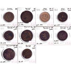 1837-1957 Bank of Canada Tokens: 1837 LC-8A1 AG, 1837 LC-9D1 VG (imp), 1840 NS-1E2 VG-F (Cleaned), 1