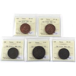 Set of 5x ICCS Certified Tokens: CH# PC5A: BR 720 ICCS EF-40 (Cleaned), CH# PC5D; BR # 720 ICCS VF-3