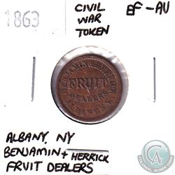 1863 Albany New York, Benjamin + Herrick Fruit Dealer Civil War Token EF-AU