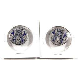 Pair of Men's Cufflink Love Tokens Circa 1870s on USA Half Dollars. Featuring the initials 'HAW', th